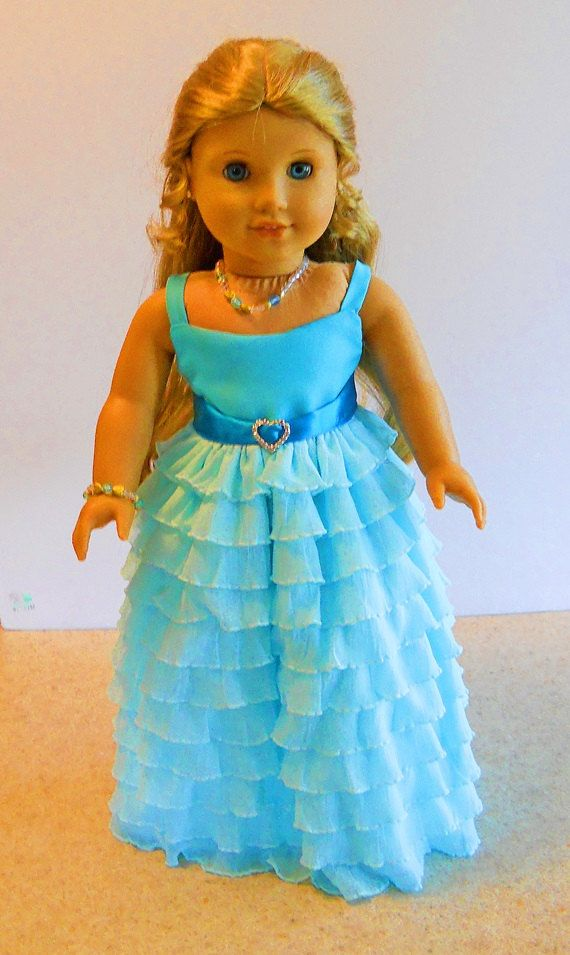 "Handmade Doll Clothes fits 18/"" American Girl PINK SATIN DRESS NECKLACE /& SHOES"