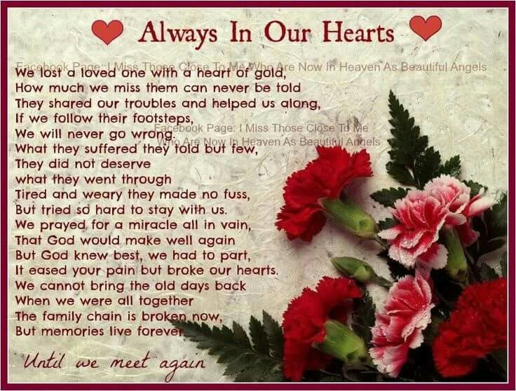 Always In Our Hearts | Poem | Pinterest | Poem