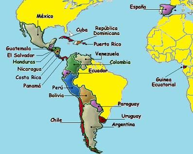 Map Of Spanishspeaking Countries Hispanohablantes Spanish - World political map spanish