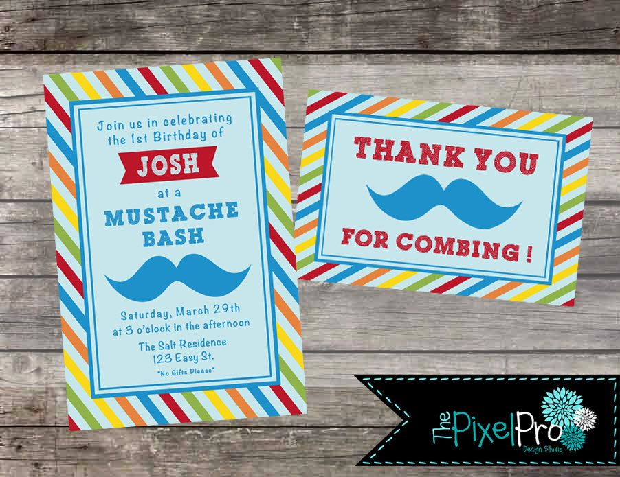 Mustache Bash birthday party invitation red orange green yellow and ...