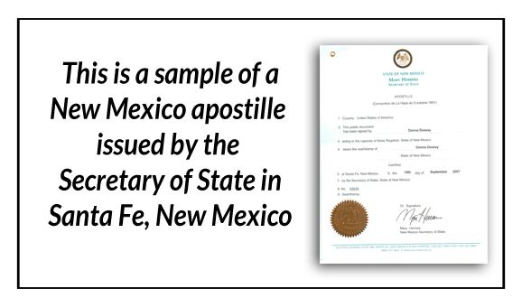 this is a sample of a new mexico apostille issued by the
