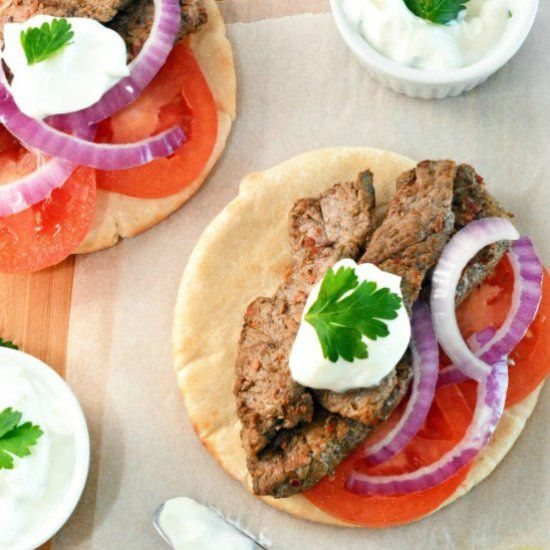 These Steak Gyros are filled with delicious steak, roma tomatoes, red onion, tatziki sauce, and spices; your family is sure to ask for more!