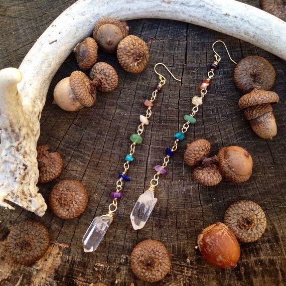 CHAKRA Quartz wire wrapped Dangle earrings by WingostarrJewelry
