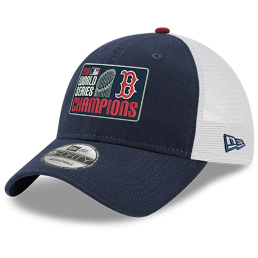 New Era Boston Red Sox Navy 2018 World Series Champions Trucker 9FORTY  Adjustable Hat 72241832a4bae