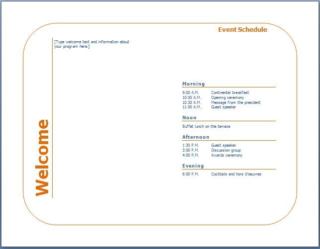 You can design an event program template to inform lots of people - event itinerary template