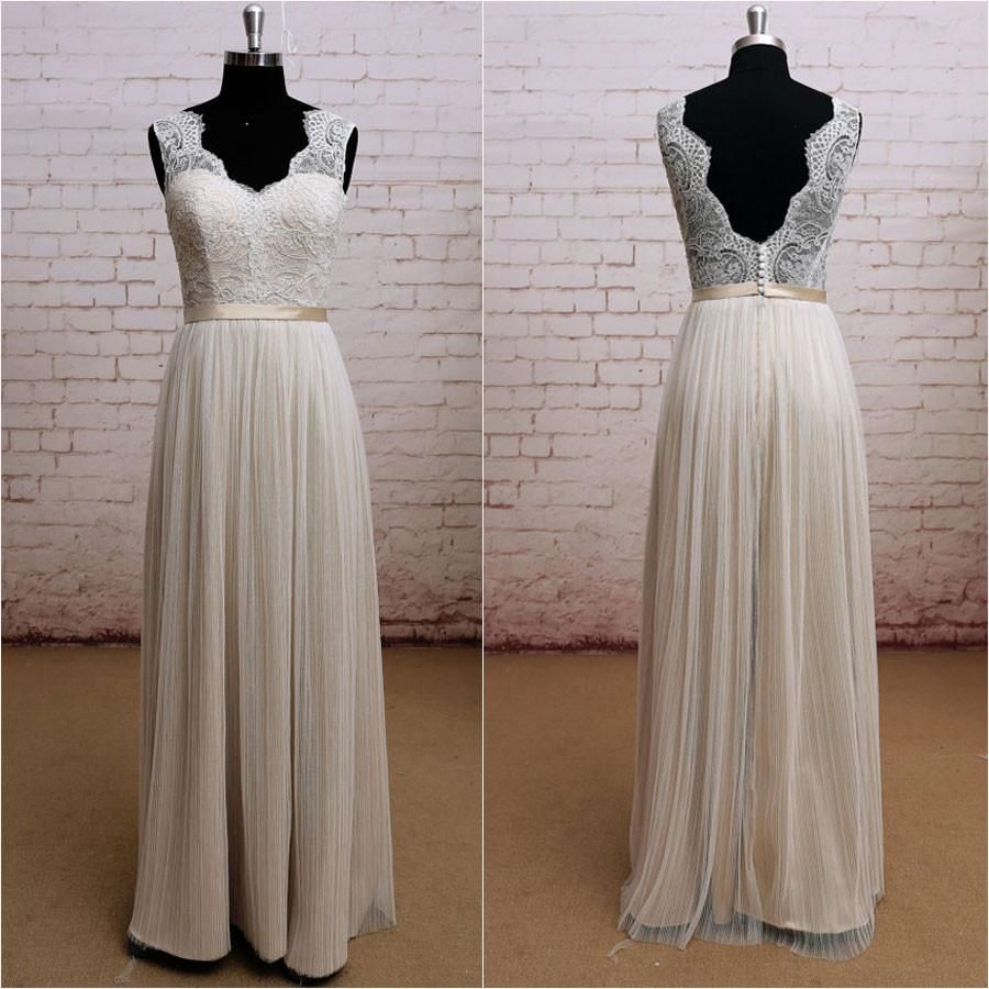 Ivory beach wedding dresses  Aline Vneck Ivory Lace Lining Beach Wedding Dressesapd