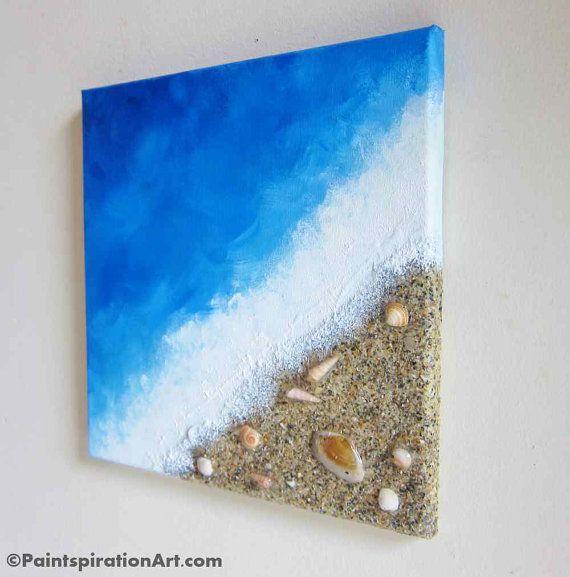 Beach Painting Ocean Decor mit echtem Sand und von Paintspiration   – Awesome Ideas