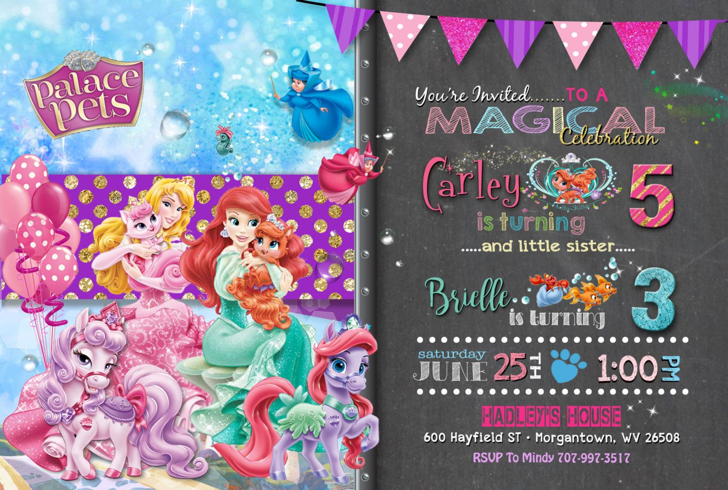 Palace pets birthday party joint invitation sisters birthday palace pets birthday party joint invitation printable girl chalkboard sibling stopboris Image collections
