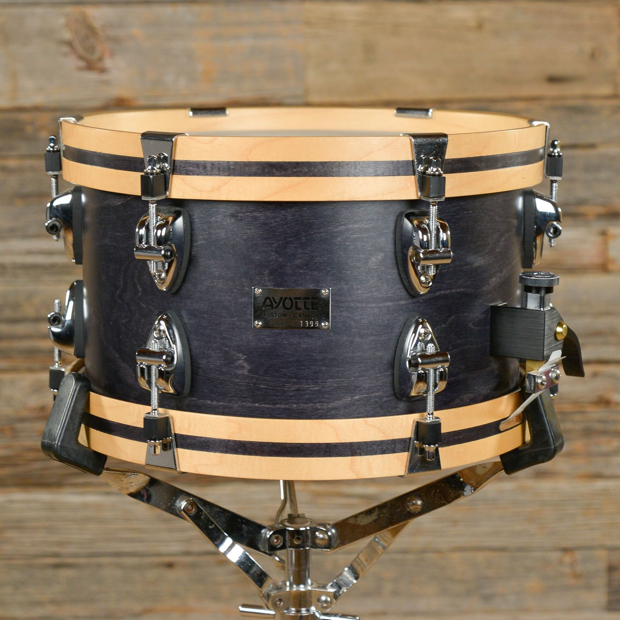 Ayotte 7x12 12 Ply Maple Snare Drum w/Wood Hoops Black Stain 90s ...