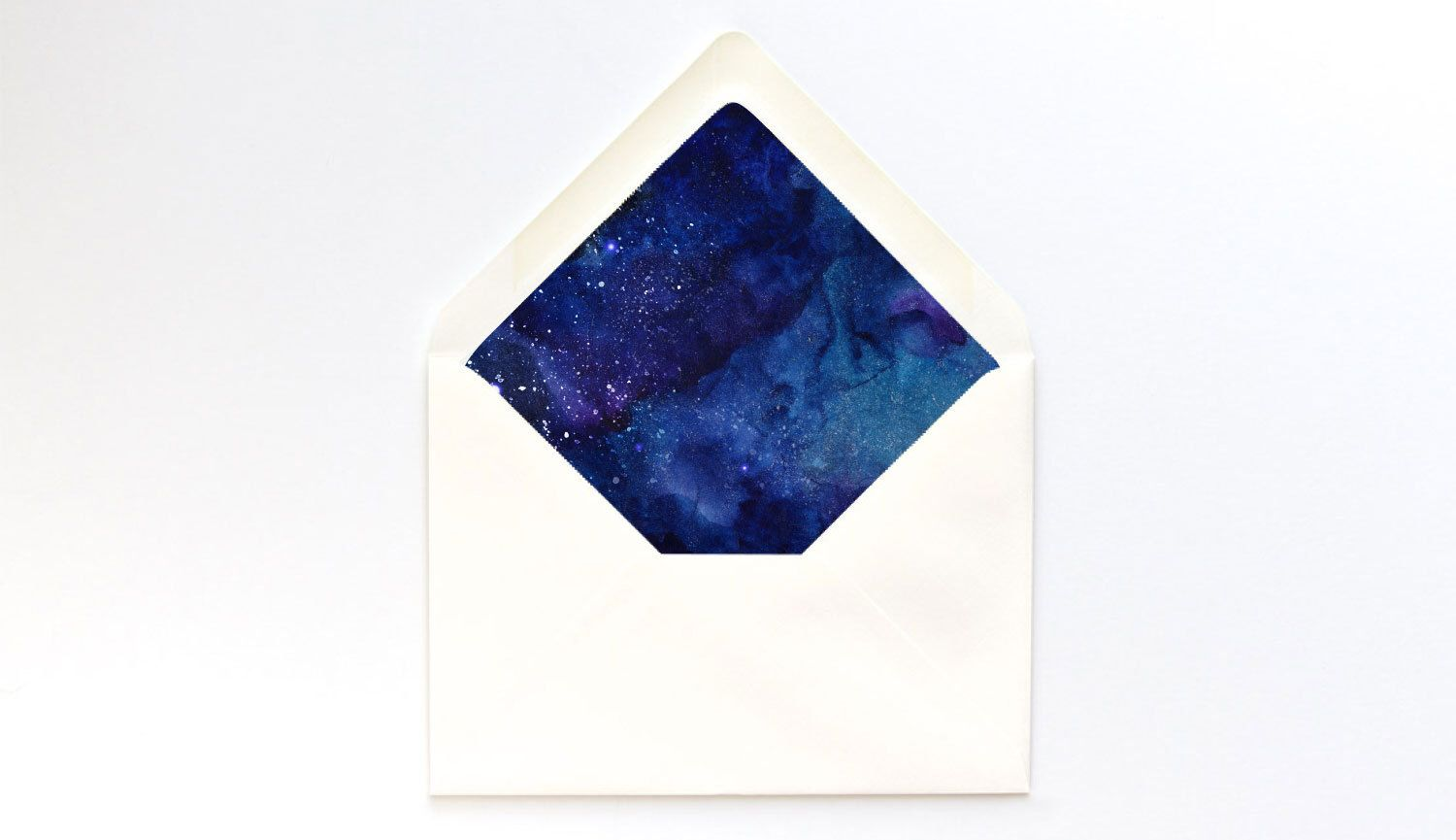 Starry Night Watercolor Envelope Liner Template  A Euro Flap