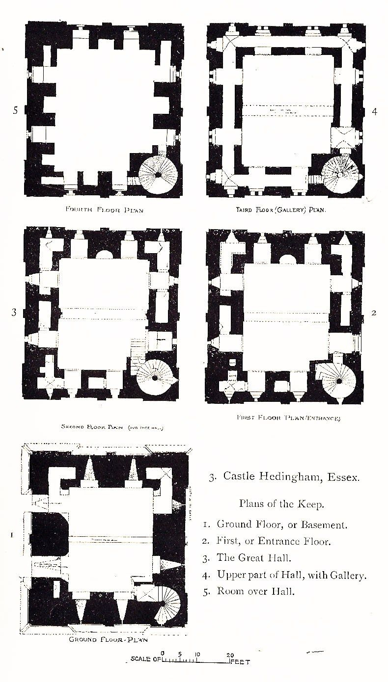 Castle Hedingham, annotated plans of all floors