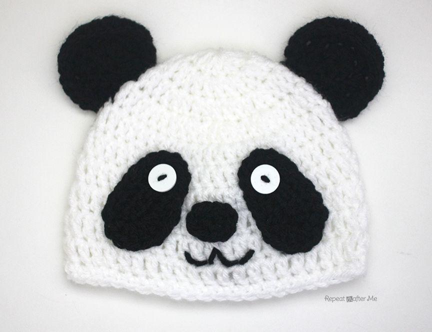 Crochet Panda Bear Hat | gorros geek | Pinterest | Gorros, Gorros ...