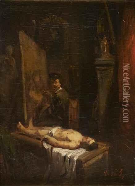 Tony Francis De Bergue, Rembrandt Dans Son Atelier Peignant La Lecon D'anatomie