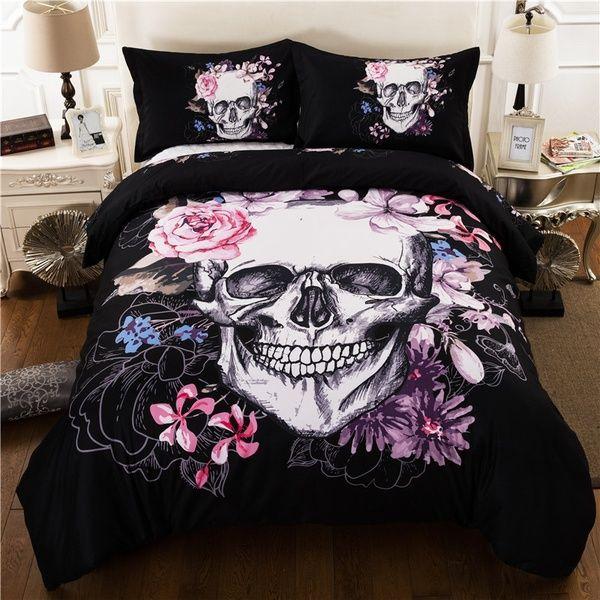 Creative Skull Rose Bedding Set Duvet Cover Pillowcases