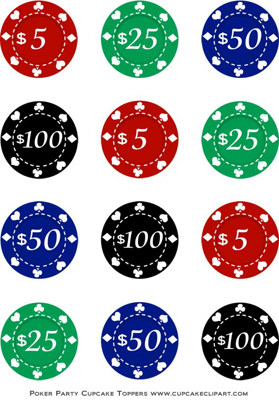 Poker Chip Toppers Cupcake Toppers Printable Vegas Theme Poker Night