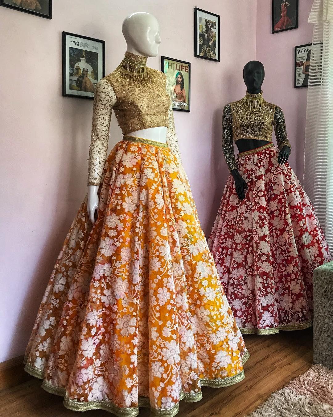 Trending Florals Manishrai Manishraioccassionwear Dm For Price Trending Fashion High Waisted Skirt