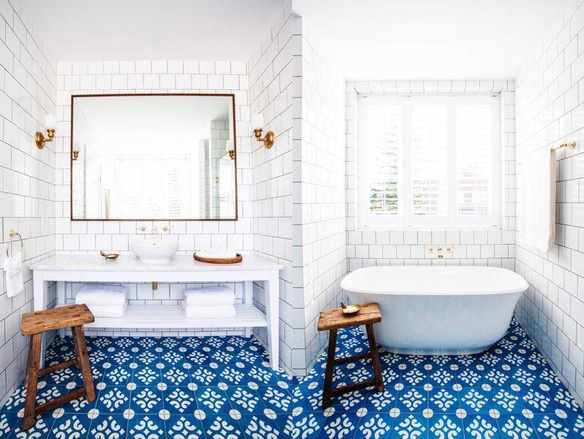 28 Creative Tile Ideas For The Bath And Beyond Freshome Com Bold Bathroom Tile Bathroom Floor Tiles Tile Bathroom