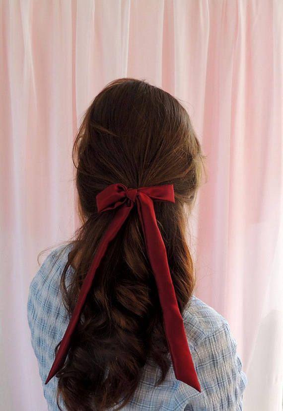 Burgundy Red Silk Hair Ribbon Pony Scarf Tie In 2019