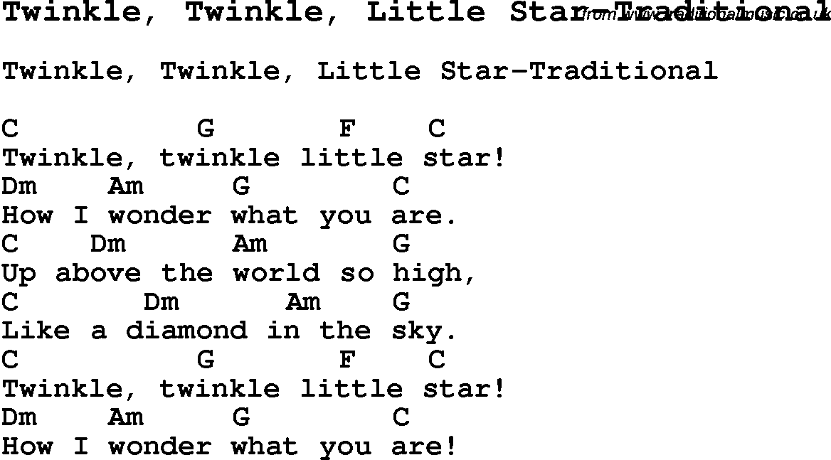 Childrens Songs and Nursery Rhymes, lyrics with chords for guitar ...