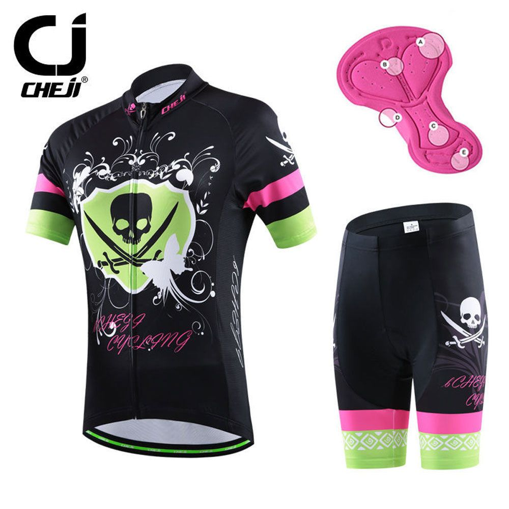 6c040c82d55 Crossbone CHEJI Women s Cycling Clothing Mountain Bike Jerseys Short Set  Bicycle Jersey and GEL Padded Shorts