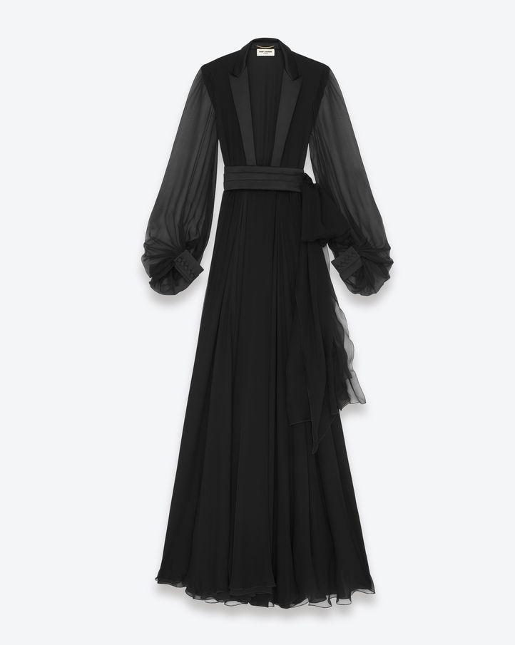 Saint Laurent Signature Smoking Dress In Black Silk Crepe | ysl.com