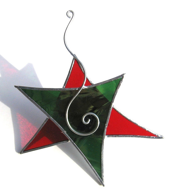 Christmas Dancing Star - Stained Glass Ornament - Red Green Wire