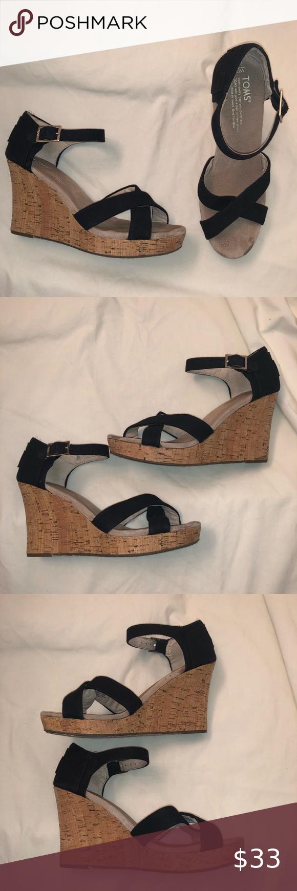 TOMS sienna wedge sandals in black size