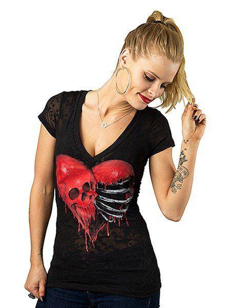 """Ribcage Heart Skull"" Burnout Tee by Lethal Angel (Black) | Inked Shop"