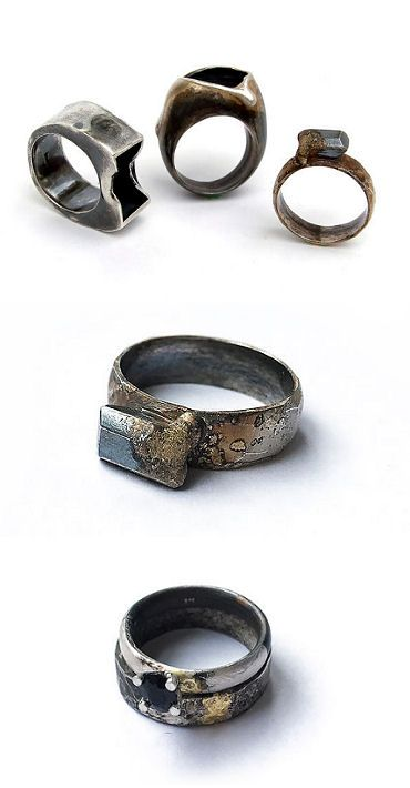 "Oxidized ""Black Beauty"" rings by New Zealand's Sandra Schmid."