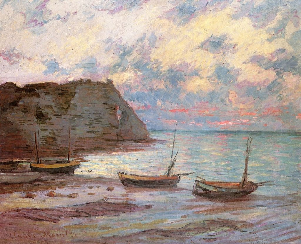 Coucher de soleil à Etretat (C Monet - W 1016) | Artist monet, Claude monet  paintings, Art painting oil