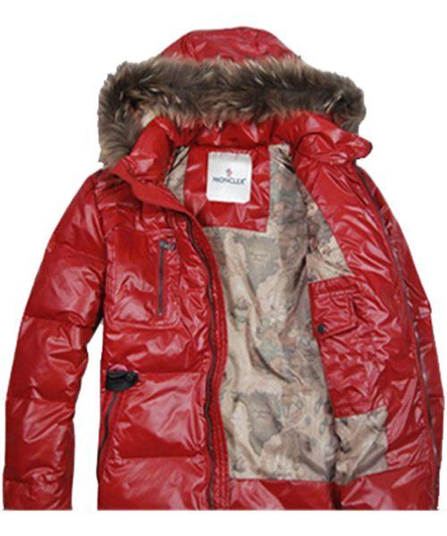 8a27a412c Moncler Men Down Jackets Zip Raccoon Fur Collar Red  2781725 ...