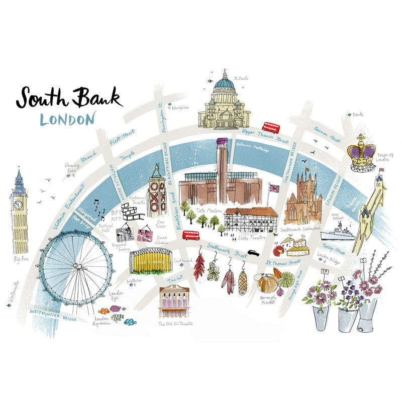 south bank london map print by the alice tait shop notonthehighstreetcom
