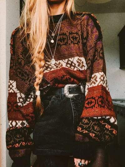 Photo of Casual Loose Knit Puff sleeve Sweaters