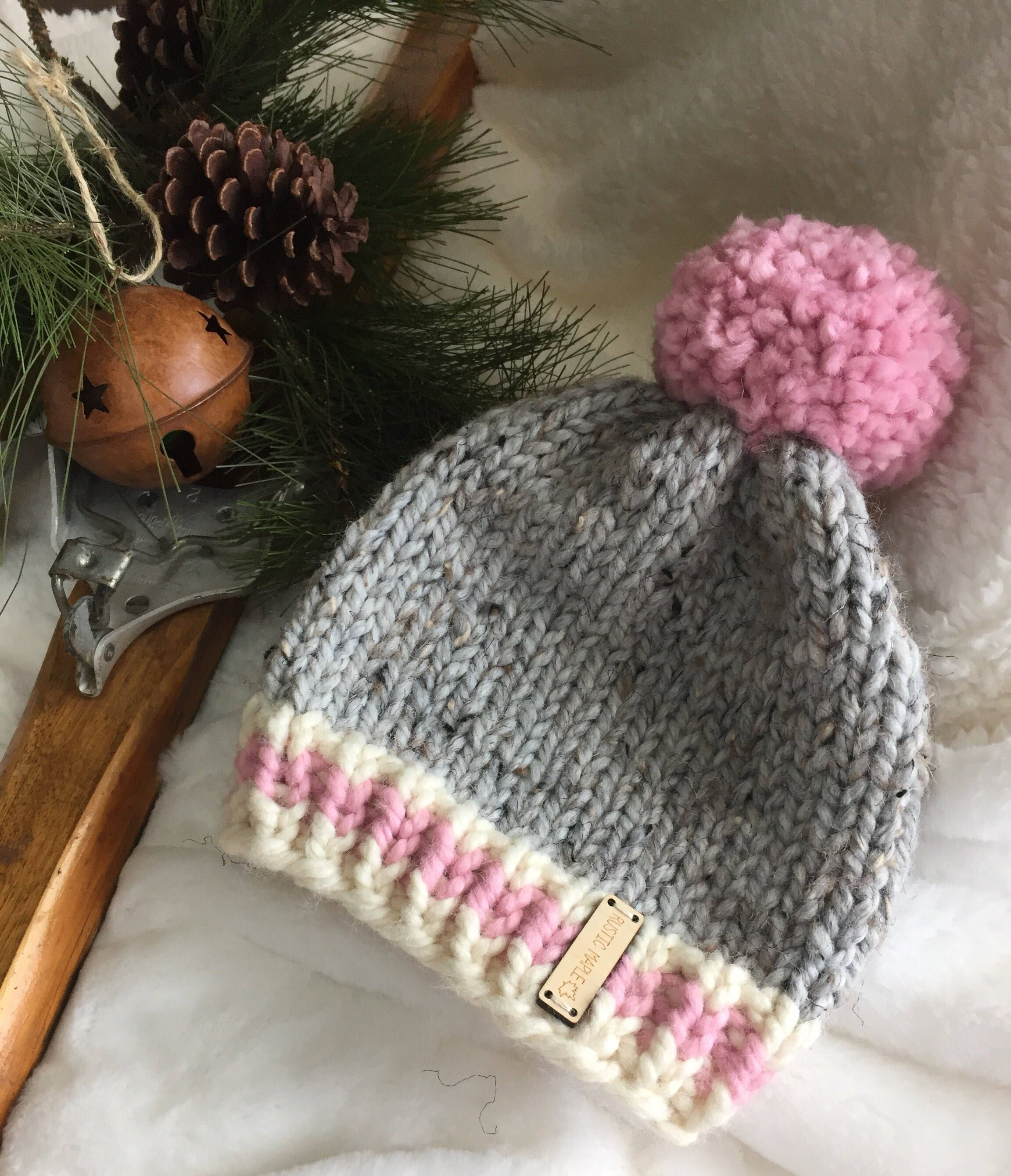 Chunky Knit Winter Pom Hat Beanie Toque Toddler   Knitting ...