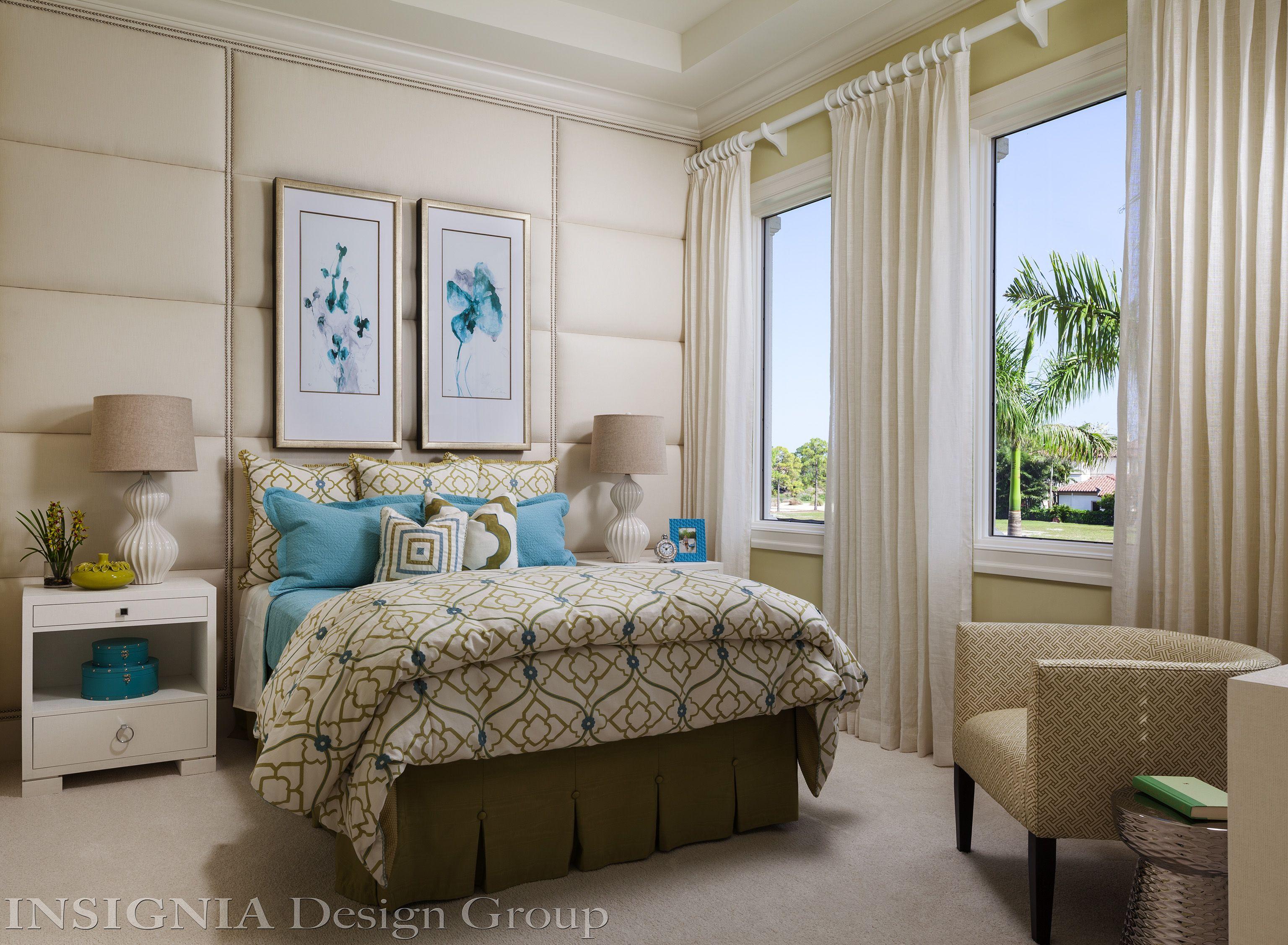 guest room. Upholstered walls, Home bedroom, Interior