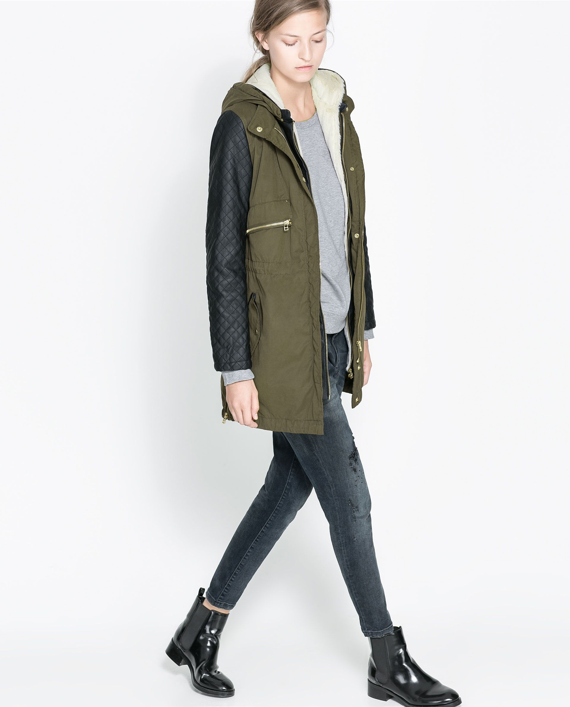 COMBINATION PARKA WITH FAUX LEATHER SLEEVES - Coats - WOMAN | ZARA ...