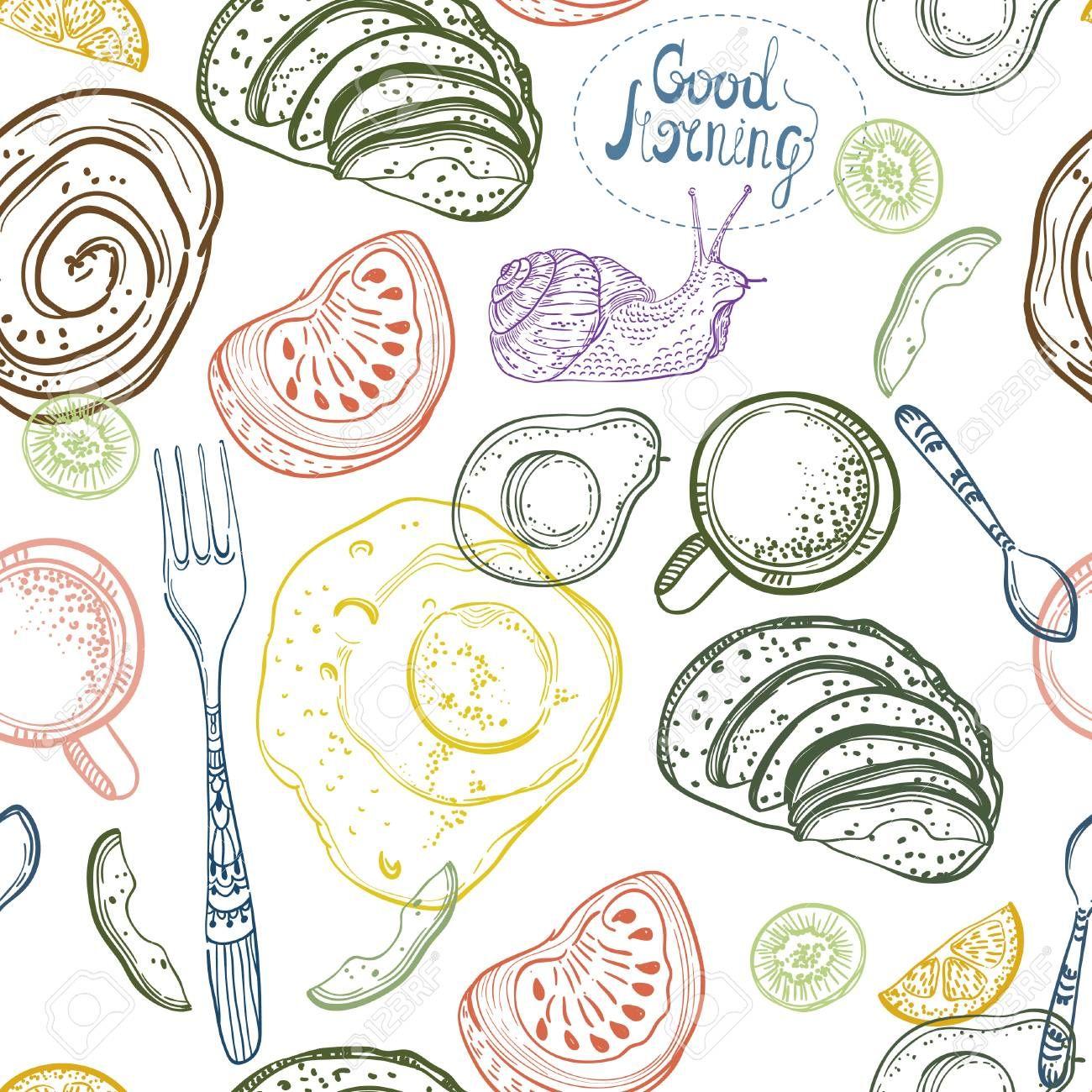 Breakfast time illustration doodle hand drawing seamless pattern Illustration