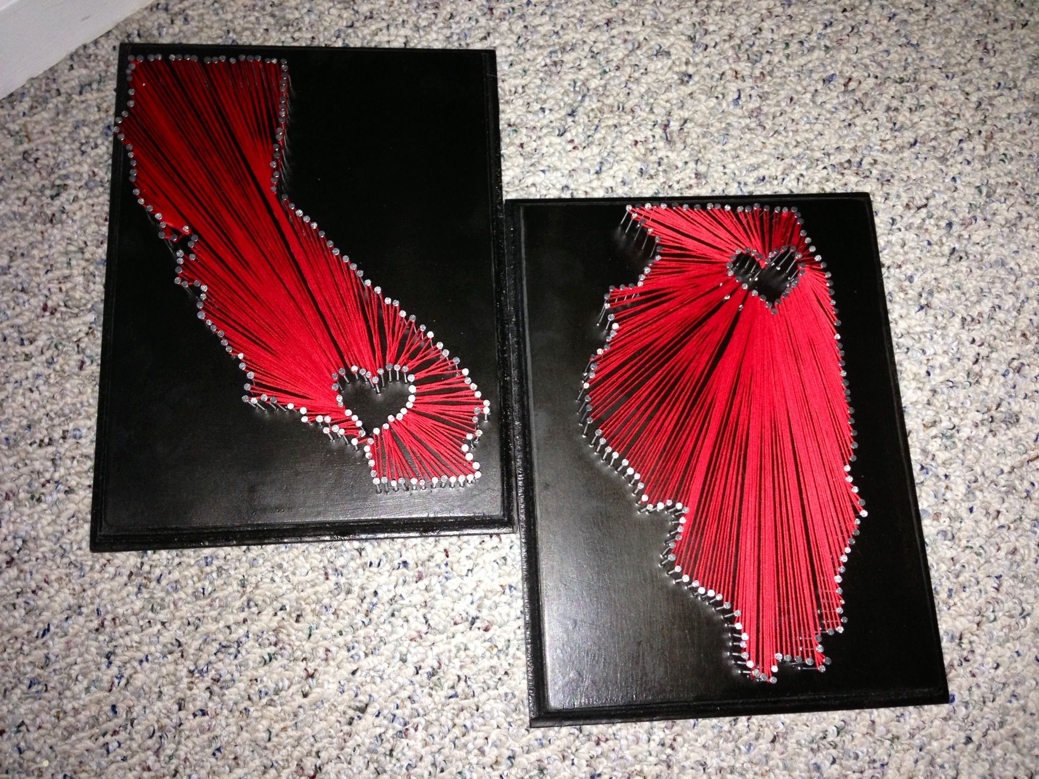 DIY long distance project. Made these for my bf & I and plan on hanging it in our home some day. And making a Texas one once we move there!