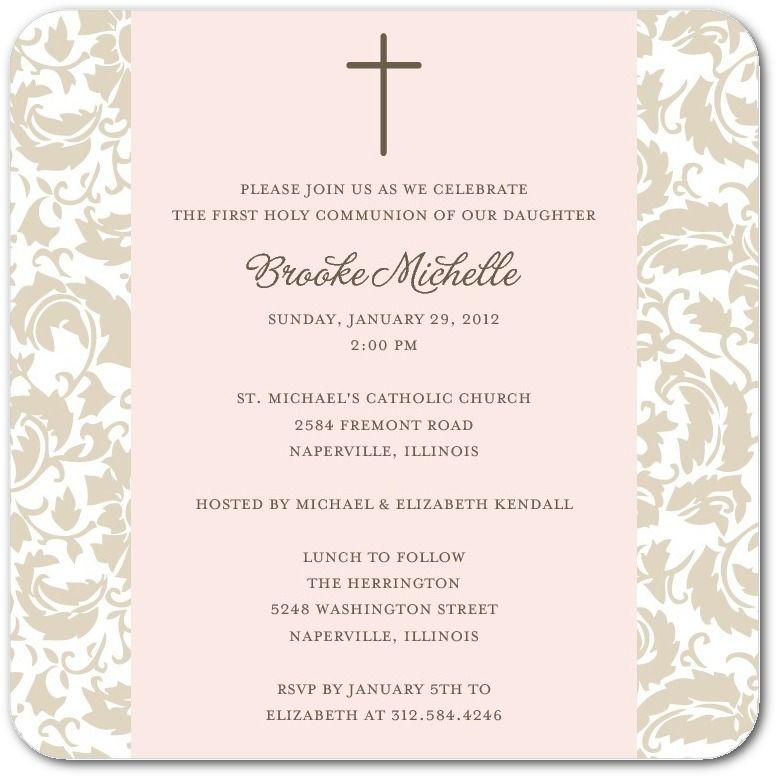 Simple Floral - Communion Invitations in Chenille Le Papier - invitation templates holy communion