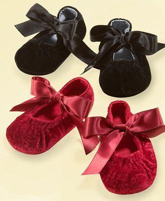 Black velvet slippers, Baby shoes