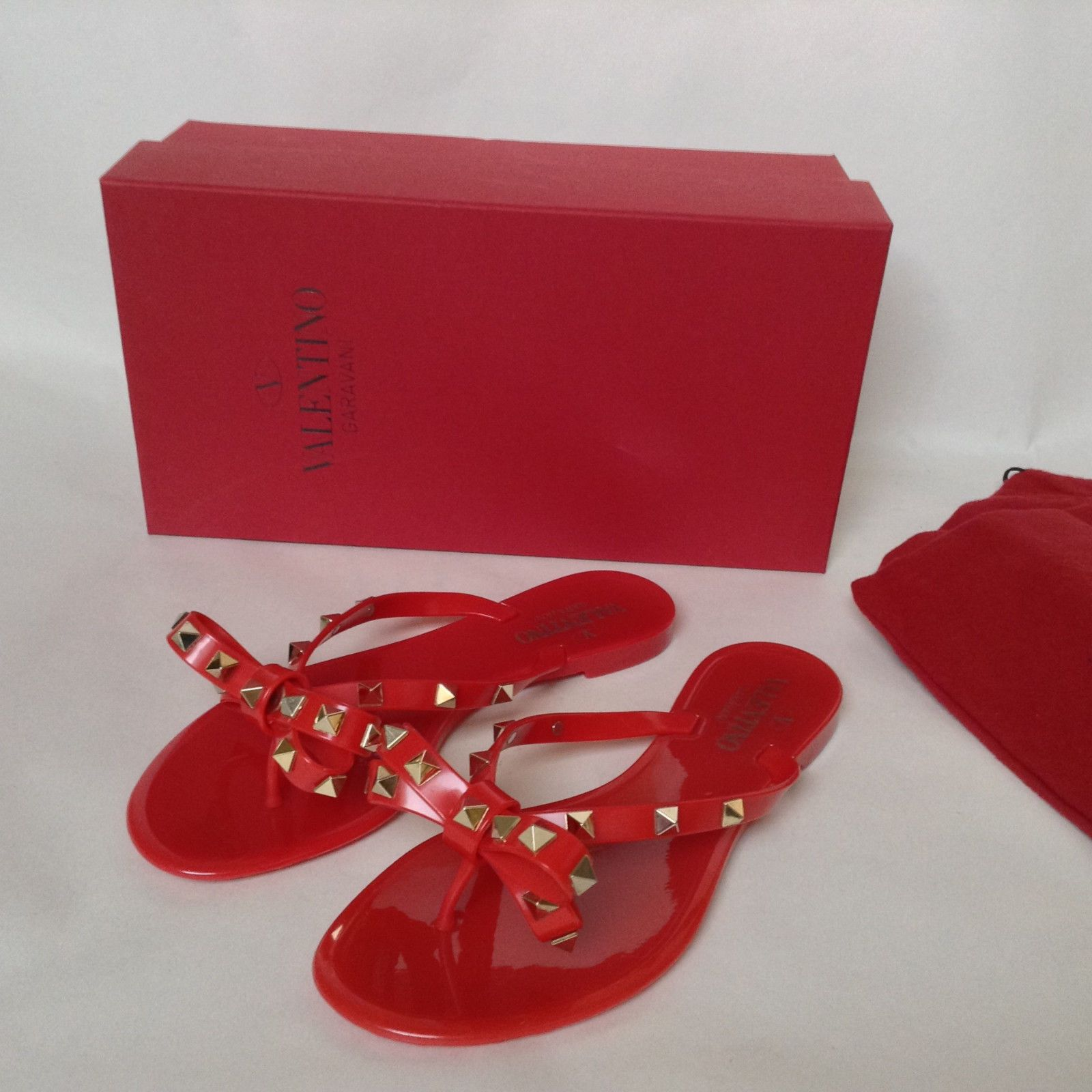 a526e84f34a Valentino Rockstud 36 6 Bow PVC Rubber Jelly Flip Flap Thong Sandals Shoes  Red
