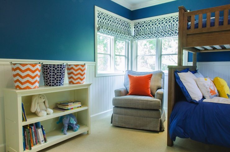 Evars and anderson cool boys room with beadboard paneled walls with dark blue wall color