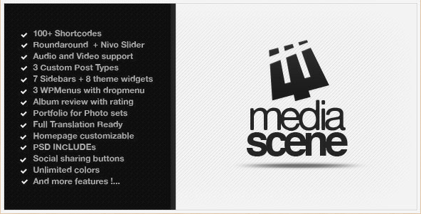 Check out: MediaScene - Premium Music WordPress Theme, which is a robust theme to help bring the storied history and background of your music alive with content sliders and widgets to present your hits, band photos, or even merchandise.