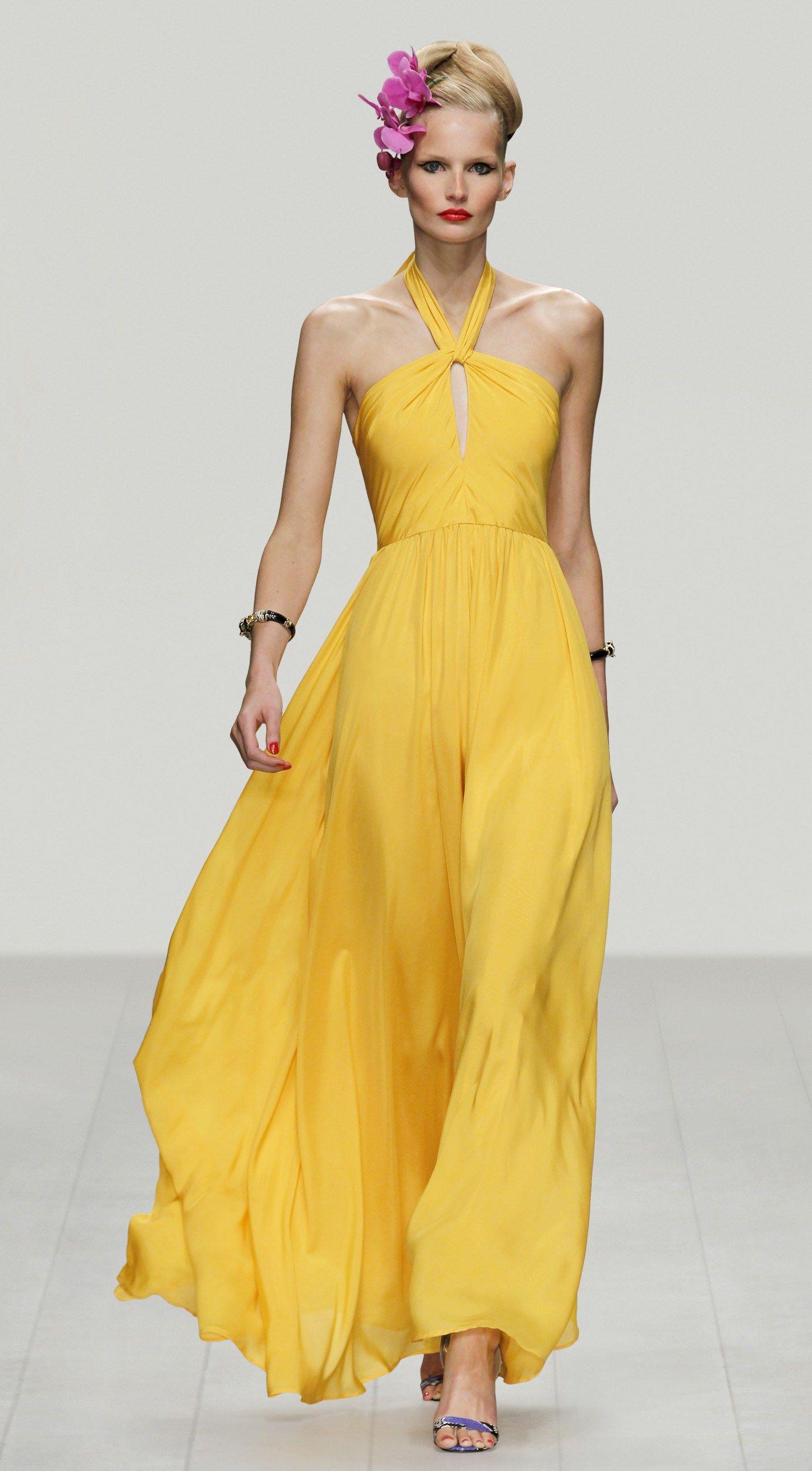 Issa London: Abendkleid gelb in fließendem Seidenjersey