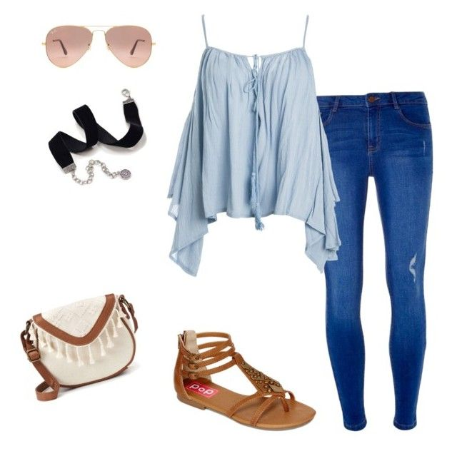 """""""Street"""" by chimizmorales on Polyvore featuring moda, Dorothy Perkins, Sans Souci, POP, Ray-Ban, Sweet Romance y T-shirt & Jeans"""