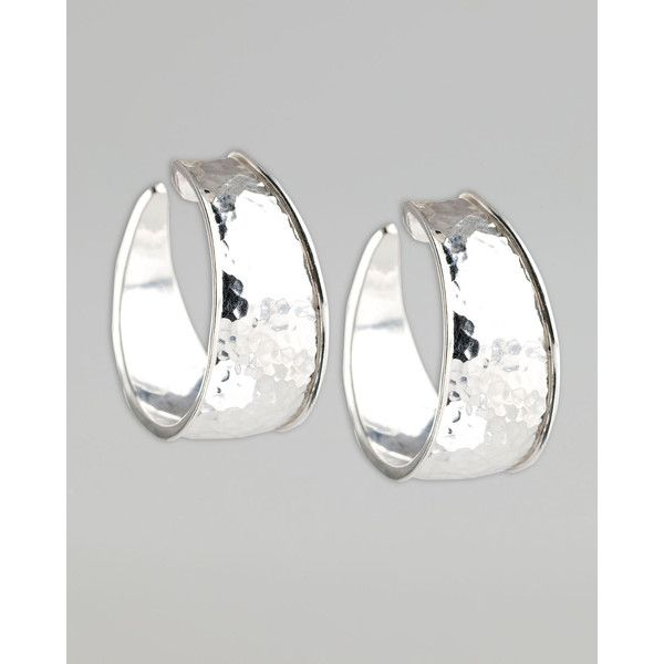 Ippolita Hammered Silver Goddess Hoop Earrings, Small ($250) ❤ liked on Polyvore