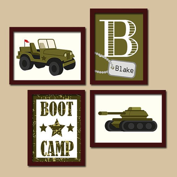 Army Wall Art Military Boy Bedroom Pictures Canvas Or Prints Army Tank Jeep Solider Boot Camp Set Of Army Room Decor Boys Army Room Bedroom Wall Art Canvas