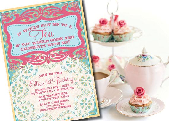 Silhouette and Doily Tea Party Invitation Design Fee – Kids Tea Party Invitations