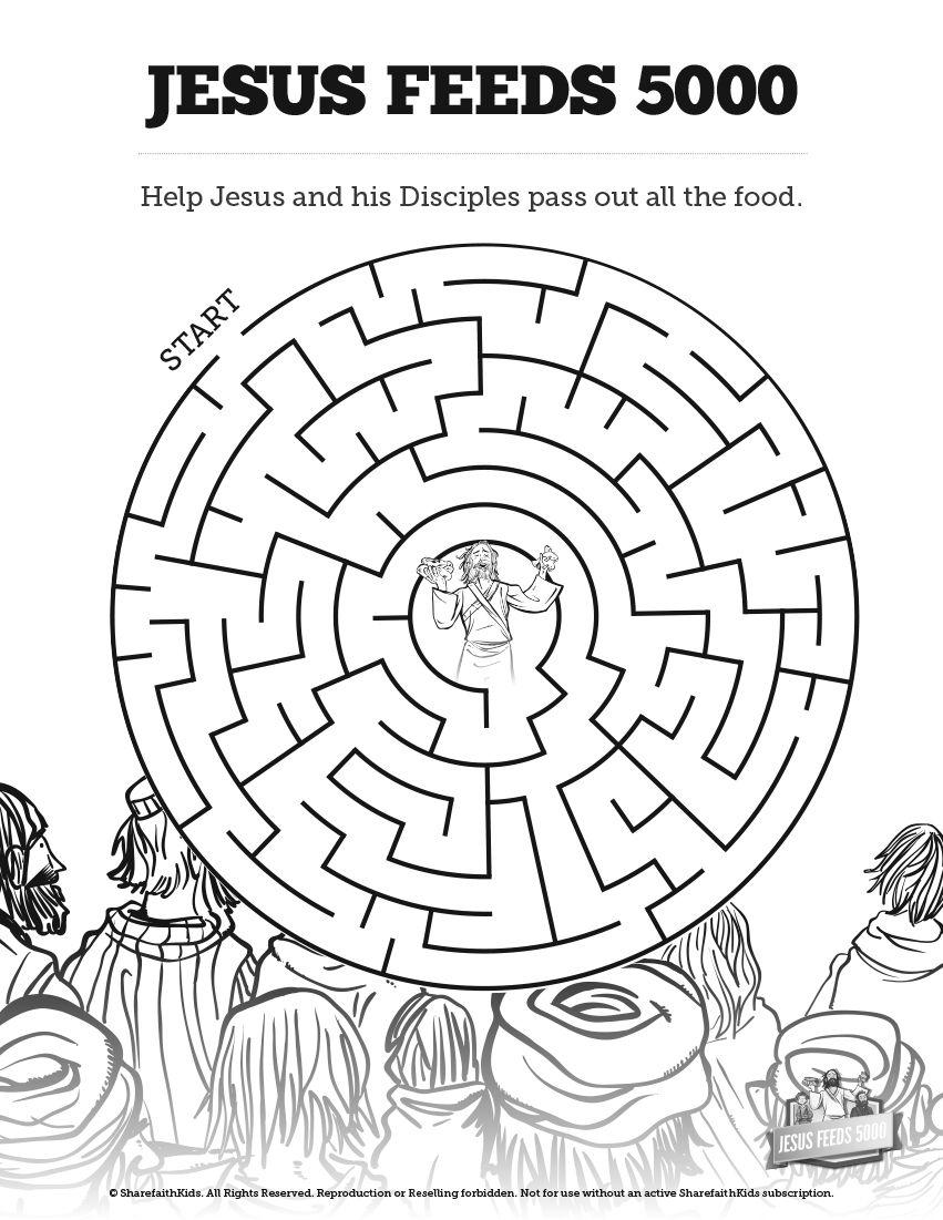 Lds Games Com Jesus Christ Feeds 5 000 Sunday School Coloring