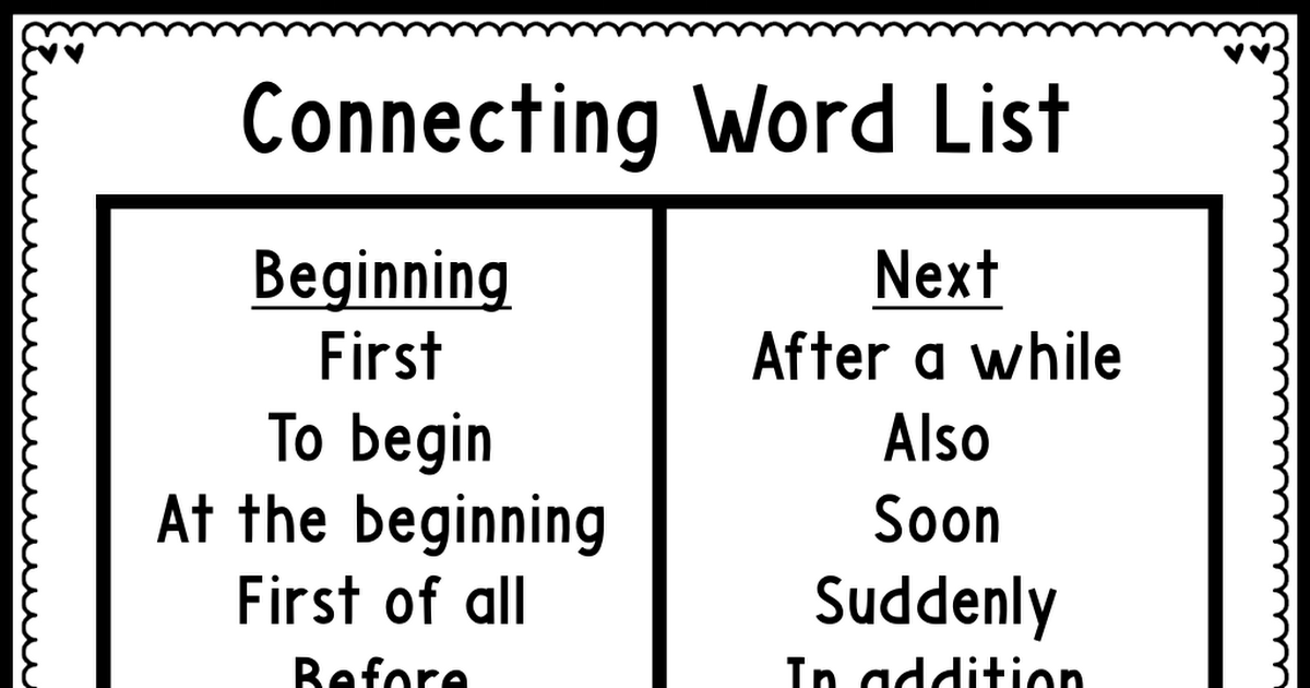 connecting word list.pdf Connecting words, Word list, Words
